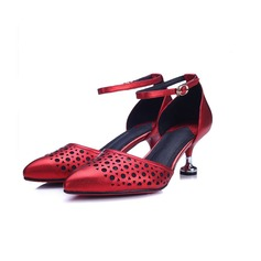 Women's Leatherette Spool Heel Pumps Closed Toe With Hollow-out shoes