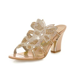 Leatherette Chunky Heel Sandals Slippers With Rhinestone shoes