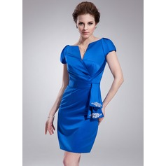 Sheath/Column V-neck Knee-Length Satin Cocktail Dress With Ruffle Beading