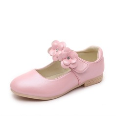 Girl's Leatherette Flat Heel Round Toe Closed Toe Flats With Velcro Flower