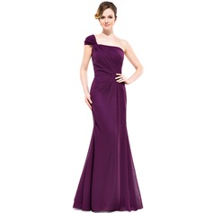 Trumpet/Mermaid One-Shoulder Floor-Length Chiffon Bridesmaid Dress With Ruffle