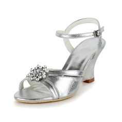 Women's Leatherette Wedge Heel Sandals With Buckle Rhinestone