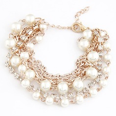 Gorgeous Alloy Imitation Pearls With Rhinestone Ladies' Fashion Bracelets