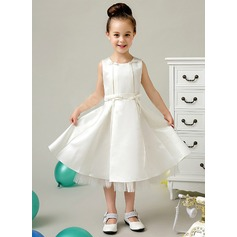 A-Line/Princess Satin First Communion Dresses With Bow(s) (010070958)