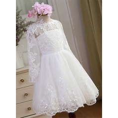 Ball Gown Knee-length Flower Girl Dress - Tulle/Lace Long Sleeves Jewel With Appliques/Sequins