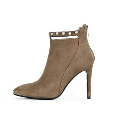 Women's Real Leather Suede Stiletto Heel Ankle Boots shoes