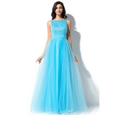 A-Line/Princess Scoop Neck Floor-Length Tulle Prom Dress With Lace Beading Sequins Bow(s)
