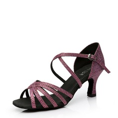 Women's Satin Heels Sandals Latin With Buckle Hollow-out Dance Shoes (053108035)