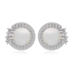 Elegant Pearl/Zircon/Platinum Plated Ladies' Earrings