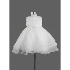 Empire Knee-length Flower Girl Dress - Satin Sleeveless Scoop Neck With Bow(s)/Rhinestone