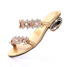 Women's Leatherette Chunky Heel Sandals Pumps Peep Toe With Rhinestone shoes