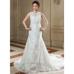 A-Line/Princess V-neck Chapel Train Organza Wedding Dress With Beading Appliques Lace