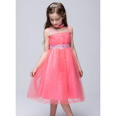 A-Line/Princess Knee-length Flower Girl Dress - Tulle/Polyester Sleeveless Straps With Lace/Rhinestone