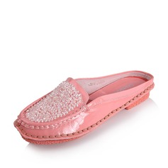 Suede Patent Leather Flat Heel Flats Closed Toe Slippers shoes