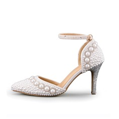 Women's Leatherette Stiletto Heel Closed Toe Pumps Sandals With Imitation Pearl Braided Strap