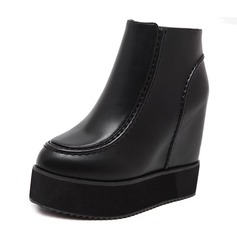 Women's Leatherette Wedge Heel Boots Ankle Boots shoes