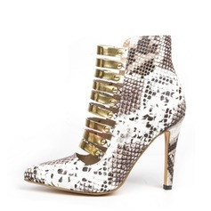 Women's Real Leather Stiletto Heel Pumps With Sequin Animal Print Zipper shoes