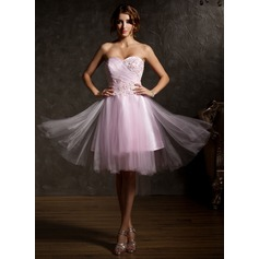 A-Line/Princess Sweetheart Asymmetrical Tulle Homecoming Dress With Ruffle Beading Flower(s)