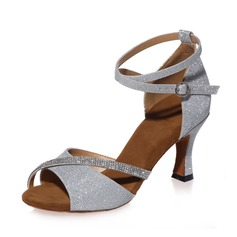 Women's Leatherette Heels Sandals Latin With Rhinestone Ankle Strap Dance Shoes