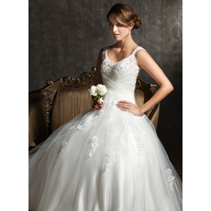 Ball-Gown V-neck Sweep Train Tulle Wedding Dress With Ruffle Beading Appliques Lace Sequins