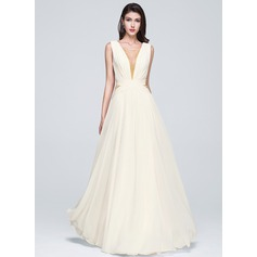 A-Line/Princess Square Neckline Floor-Length Chiffon Prom Dress With Ruffle Beading Sequins