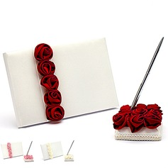 Bold Red Luxury Rose Lined Petals Guestbook & Pen Set