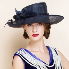 Ladies' Charming Summer Cambric With Feather Bowler/Cloche Hat (196075561)