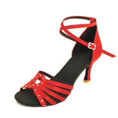 Women's Leatherette Heels Pumps Latin With Ankle Strap Buckle Dance Shoes
