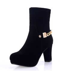 Women's Leatherette Chunky Heel Boots shoes