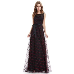 Polyester/Tulle/Silk Blend With Spliced Maxi Dress (199090732)