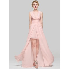 A-Line/Princess Scoop Neck Floor-Length Chiffon Bridesmaid Dress With Ruffle Lace