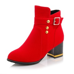 Women's Suede Chunky Heel Boots Mid-Calf Boots With Rhinestone shoes