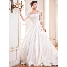 Ball-Gown Square Neckline Court Train Satin Wedding Dress With Ruffle Lace Beading Sequins
