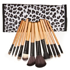 Black And White Leopard Makeup Brushes (12 Pcs)
