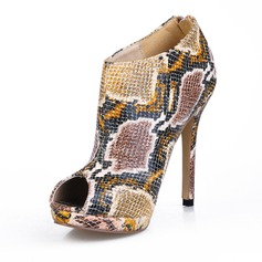 Leatherette Stiletto Heel Peep Toe Ankle Boots With Animal Print