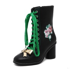 Women's Leatherette Chunky Heel Boots Ankle Boots With Applique Lace-up shoes