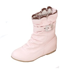 Women's Leatherette Low Heel Closed Toe Ankle Boots shoes