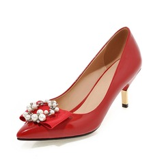 Women's Leatherette Cone Heel Pumps Closed Toe With Imitation Pearl shoes
