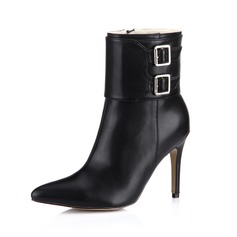 Leatherette Stiletto Heel Ankle Boots Riding Boots With Buckle shoes