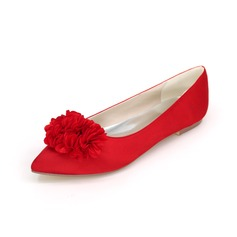 Women's Satin Flat Heel Closed Toe Flats With Flower