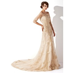 A-Line/Princess Off-the-Shoulder Chapel Train Tulle Lace Wedding Dress