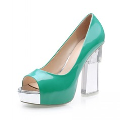 Leatherette Chunky Heel Pumps Peep Toe With Crystal Heel shoes