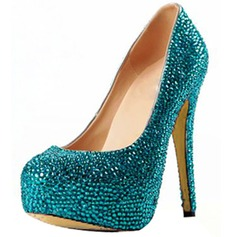 Suede Stiletto Heel Pumps Platform Closed Toe With Rhinestone shoes