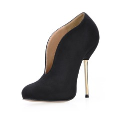 Women's Suede Stiletto Heel Closed Toe Ankle Boots shoes