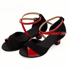 Women's Kids' Leatherette Suede Heels Sandals Latin With Ankle Strap Dance Shoes