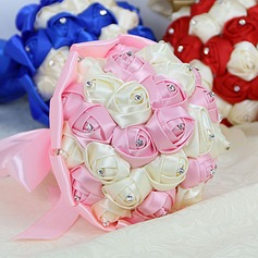 Colorful Round Venetian Pearl Bridesmaid Bouquets