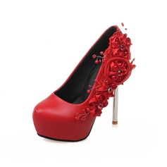 Women's Suede Chunky Heel Pumps Platform With Pearl Flower shoes