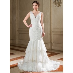 Trumpet/Mermaid V-neck Court Train Organza Lace Wedding Dress With Cascading Ruffles