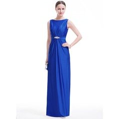 Sheath/Column Scoop Neck Floor-Length Jersey Evening Dress With Ruffle Beading Sequins