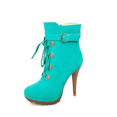Suede Stiletto Heel Ankle Boots With Buckle Lace-up shoes
